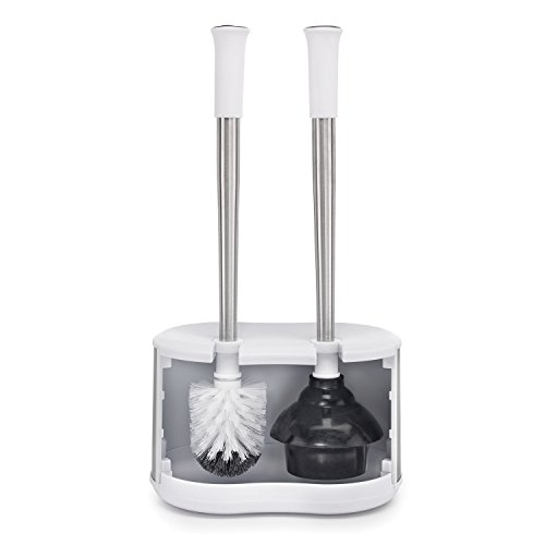 Polder Toilet and Plunger Bath Caddy Replacement Head Included - Stainless & White