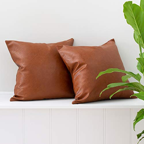 Inspired Ivory Set of 2 Faux Leather Pillowcase Throw Pillow Covers - Modern Brown Faux Leather Decorative Throw Pillows Cases Only for Couch Bed Home Decor | 18x18 Pillow Covers 2 Pack Tullula Set (Couch Camel Brown)