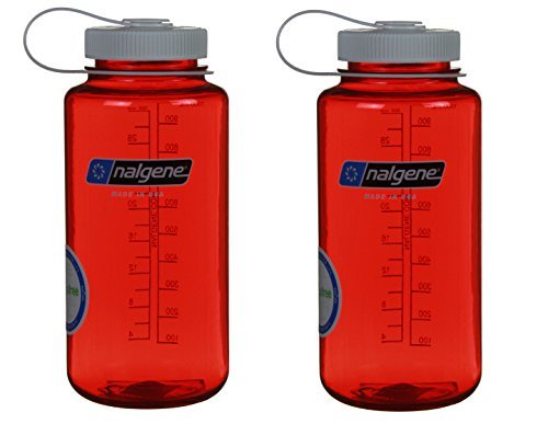 Nalgene 32oz Wide Mouth Everyday Water Bottle - 2 Pack (Red w/ White Lid) ()