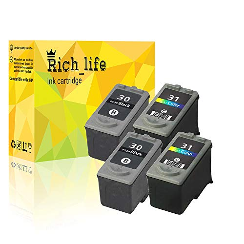 Cl 31 Printer Cartridge - Rich_life Canon PG 30 CL 31 Remanufactured Ink Cartridge Replacement Compatible Canon Printer PIXMA iP MP MX 4 Pack (2 Black, 2Color)