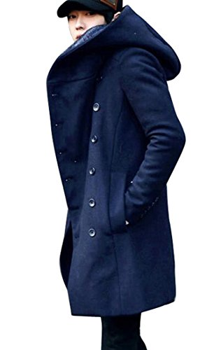 Pivaconis Mens Winter Double Breasted Slim Mid Length Hooded Pea Coat Navy Blue ()