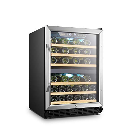 - LANBO Dual Zone Wine Refrigerator, 44 Bottle Built-in Under Counter Compressor Wine Cooler, 24 Inch Wide