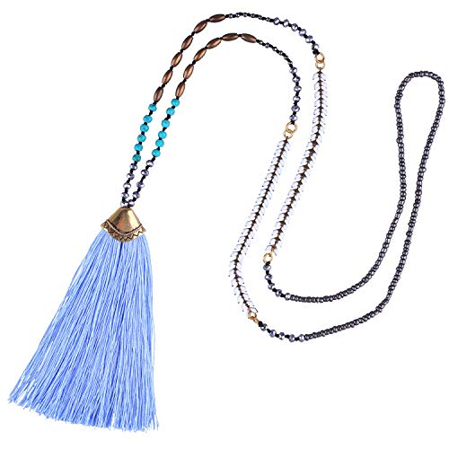 (KELITCH Synthetic Turquoise Crystal Beads Strand Necklace Tassel Layering Style Pendant Necklace Fashion New Jewelry (Blue L))