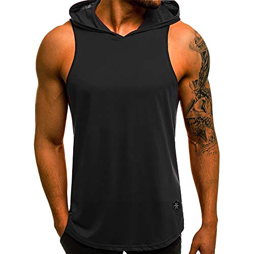 Realdo Mens Tank Tops Undershirts, Mens Casual Athletic Sleeveless Sport Pullover Hoodie Vest Tops T-Shirt Black from Realdo