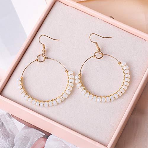 Dangling Handmade Earrings (Maikouhai 1 Pair of Earrings, Bohemian Style Handmade Beaded Glass Geometric Round Earrings Ladies Women Jewelry - Acetic Acid Style (Clear))