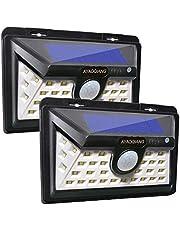 Luz Solar Jardín, Foco Led Solar 34 LED 2200 mAh con Sensor Movimiento Lámpara Solar Exteriors Impermeable Inalámbrico Solares de Pared de Seguridad 3 Inteligente Modos para Patio[2 Paquete]