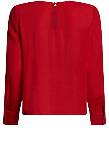 oodji Ultra Mujer Blusa Ancha con Escote Gota en la Espalda Rojo (4500N)