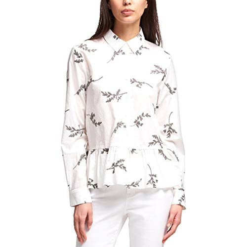 DKNY Womens Embroidered Button-Down Peplum Top White XS Dkny Button Down Shirt