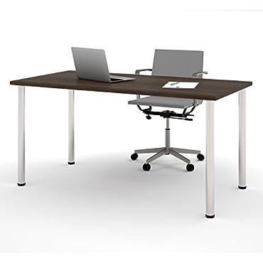 Bestar 30-in x 60-in Round Metal Leg Table 65862-78 Tuxedo