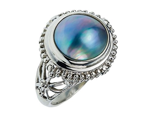 Black Mabe Pearl - 19mm .925 ITALIAN Sterling Silver BALI VINTAGE ANTIQUE BLACK MABE PEARL Stone 5-10