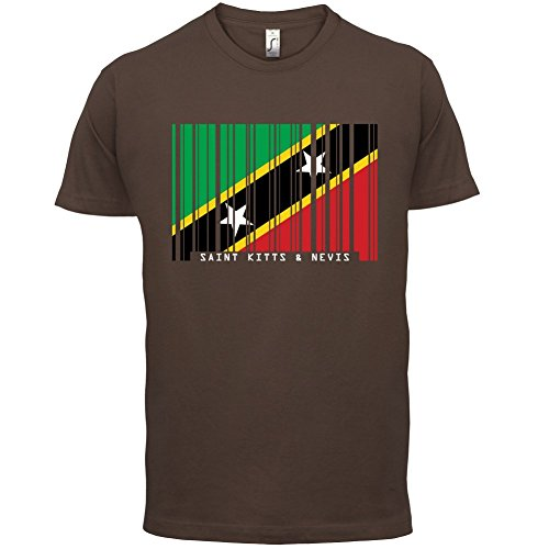 Saint Kitts and Nevis / St. Kitts und Nevis Barcode Flagge - Herren T-Shirt - Schokobraun - XS