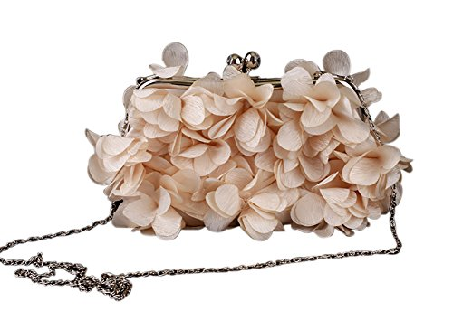 Champagne Clutches Bags Evening Women Purse Flower Handbags Clutch Wedding w8qxgC5