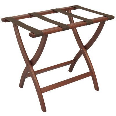 (Folding Solid Oak Deluxe Luggage Rack w Four Support Straps (Dark Red Mahogany with Brown Webbing) )