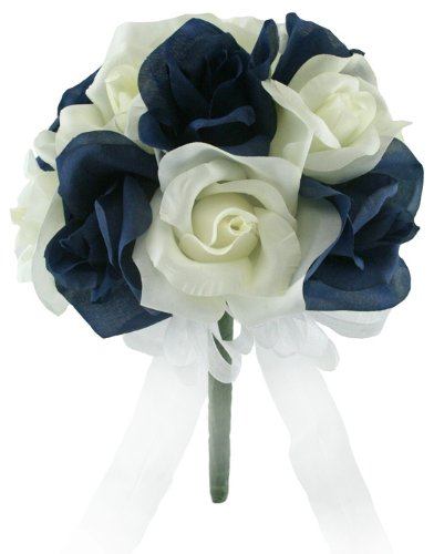 Amazon Navy And Ivory Silk Rose Toss Bouquet Bridal Wedding