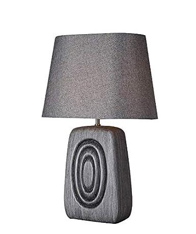 Lámpara de mesa efecto madera gris marrón pantalla ...