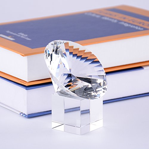 - BRLIGHTING Clear Crystal Diamond Paperweight on Stand for Home Decor (D80mm / 3.15