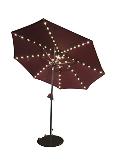 SORARA Patio Umbrella with Solar Powered 64 LED Lights Market Outdoor Umbrella with Tilt&Crank&Umbrella Cover, 9 Feet, Red