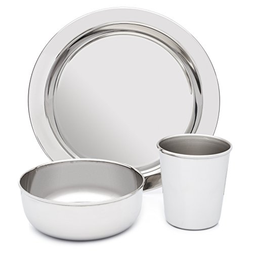 Stainless Steel Dish Set For Kids With Plate Bowl And