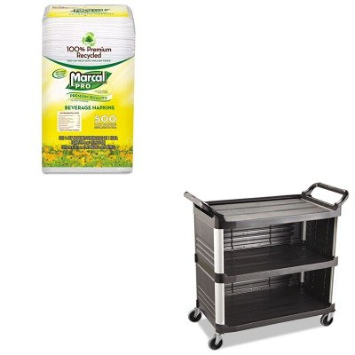KITMRC28CTRCP4093BLA - Value Kit - Rubbermaid-Black X Tra Three Shelf Bussing Cart, Enclosed On 3 Sides 300 lb (RCP4093BLA) and MarcalPro 100% Recycled Beverage Napkins (MRC28CT) by Rubbermaid