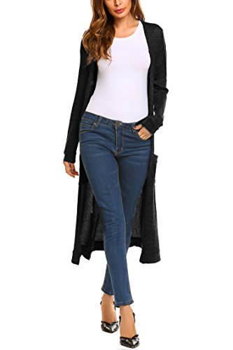 Length Cardigan Knee (Beyove Women's Classic Open Front Long Knit Cardigan Sweater with Pockets Black S)