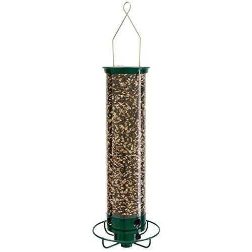 Droll Yankees Yankee Flipper Squirrel-Proof Bird Feeder, 21 Inches, 4 Ports, Forest Green (Renewed)