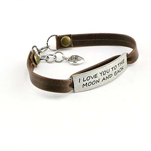 Yiyang Birthday Day Gift for Girls Leather Bracelet Inspirational Engraved I Love You to the Moon and Back by Yiyang (Image #2)