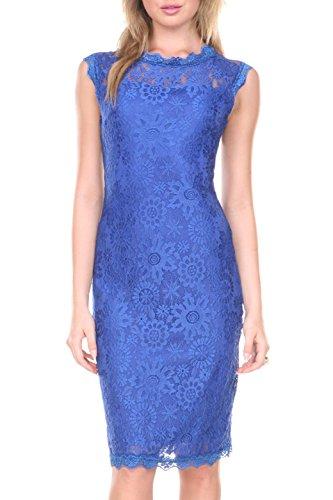 Stanzino Women's 2609BLUEL Sleeveless Lace Dress, Blue, L (Sleeveless Knee Length Cocktail)