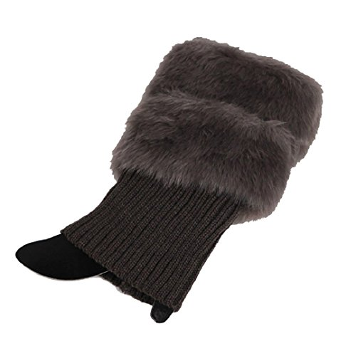 Polytree Women's Winter Furry Boot Cuffs Toppers Knitted Leg Warmers - Dark Gray