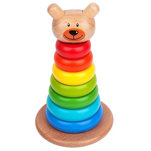 UPC 784672959575, Rainbow Ring Wooden Stacker Toddler & Baby Toy By Zig Zag Kid