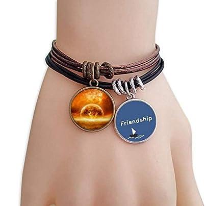 Golden Red Planet Like Flame Burning Pattern Friendship Bracelet Leather Rope Wristband Couple Set Estimated Price -