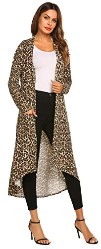 (POGTMM Women's Long Open Front Drape Lightweight Duster Maxi Long Sleeve Cardigan (US L(12-14), Z Leopard) )