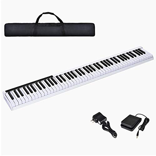 Costzon 88-Key Portable Electronic Piano, with a Black Handbag, 88-Key Full Size Digital Piano, Bluetooth and Voice Function, Portable Electronic Keyboard, with Sustain Pedal and Power Supply (White)