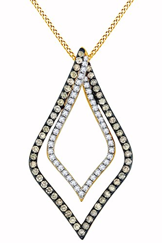 Round White & Brown Natural Diamond Marquise Frame Pendant Necklace in 14k Solid Yellow Gold (0.55 Ct) (14k Yg Frame)