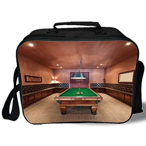 Insulated Lunch Bag,Modern Decor,Entertainment Room in Mansion Pool Table Billiard Lifestyle Photo Print,Cinnamon Brown Green,for Work/School/Picnic, Grey