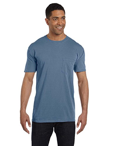 Comfort Colors Pigment-Dyed Short Sleeve Shirt with a Pocket, L, Blue (Pigment Dyed Cotton Pocket Tee)