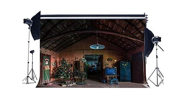 MMPTn Old Barn Backdrop 9X6FT Vinyl West Cowboy Casa Antigua Decoración navideña Árbol Telones Fondo Papá Noel Fotografía Fondo para el día Fiesta Navidad y Feliz año Nuevo Photo Studio Props QB12: