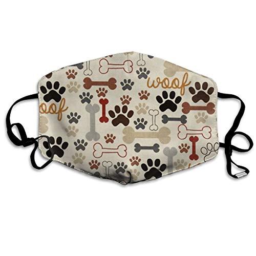KZHPQ Dog Bones Paw Prints Pieces Cotton Mouth Masks with Nose Bridge Wire, Black Anti-dust Face Mask for Women and Men
