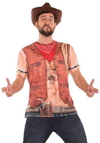 Faux Real Men's Sexy Cowboy Printed T-Shirt, Tan, (Fancy Dress Costumes For Men)