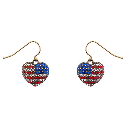 Lux Accessories God Bless American Pave Crystal Flag 4th Of July Heart Dangle Earrings (Vintage Glamour Costumes)
