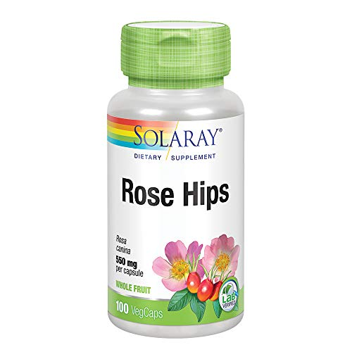 Solaray Rose Hips Fruit 550mg | Healthy Skin, Joints & Immune Function Support | Source of Vitamin C & Bioflavonoids | Non-GMO & Vegan | 100 VegCaps