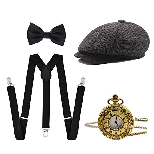 Ziyoot Men's 1920s Accessories Gatsby Gangster Costume Set Gangster Beret Y-Back Suspender (07 Gray)]()