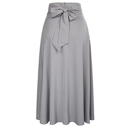 ShiTou Falda, Side Split Goddess Fan Half Body Fluttering Dress Half Length Skirt (Gray, s)