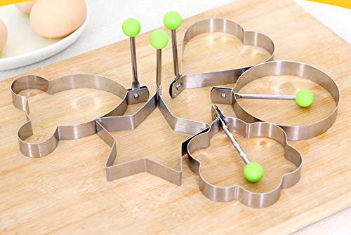 Circle Egg Mold Stainless Steel Flower Star Heart Circle-Shaped Fried Egg Device Rings Circle Cooking Tool