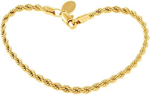 Lifetime Jewelry 3mm Rope Chain Gold Bracelets for Women Men and Teen Girls - Up to 20X More 24k Plating Than Other Charms - Cute & Durable Chains with Lifetime Replacement Guarantee 7 8 and 9 inches