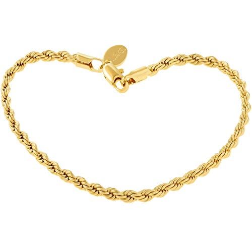 Lifetime Jewelry Rope Bracelet 3MM, Diamond Cut, 24K Gold with Inlaid Bronze, Premium Fashion Jewelry, Resists Tarnishing, Guaranteed for Life, - Anklet Gold 14kt Inch 9
