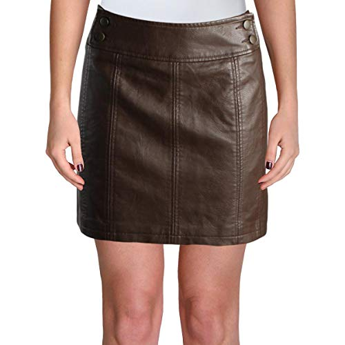 People Leather - Free People Womens Retro Faux Leather Short Mini Skirt Brown 2