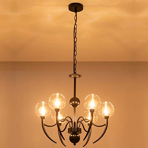 6-Lights Chandeliers with Unique Glass Shades, Industrial Black Pendant Lights with an Adjustable Chain, Lighting…