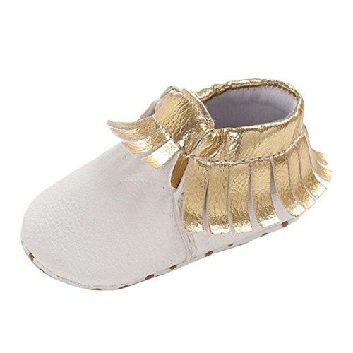 Babyschuhe cinnamou Baby Mädchen Jungen Weichen Sohle Schuhe Sneakers Casual Schuhe Süße Quasten Neugeborenen Anti-Rutsch-Babyschuhe Lauflernschuhe Krippeschuhe (0~18 Monate) (0 ~ 6 Monate, Weiß) Weiß