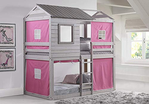 Donco Kids 1370-TTLG_1370-DP Deer Blind Bunk Loft Bed with Pink Tent, Twin/Twin, Light Grey (Girl Loft Bed Tent)