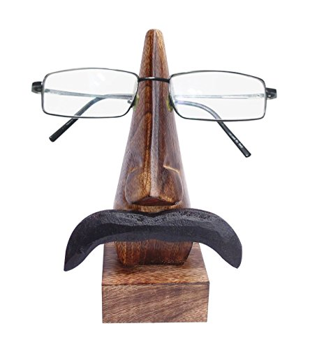 Wooden Eyeglass Spectacle Holder Handmade Nose Shaped Stand for Office Desk Home Decor Gifts (Mustache Down)